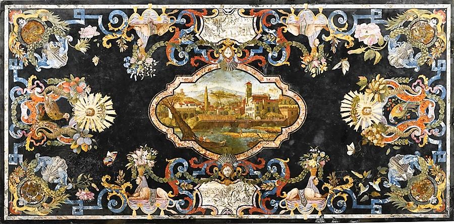 Столешница в технике флорентийской мозаики. Пьетро Антонио Паолини. Тоскана. 1735 г.