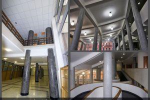 Колонны по проекту Ле Корбюзье в здании Федеральной службы Государственной статистики