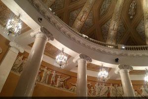 Оселковый мрамор в Императорском зале здания МГУ на Моховой