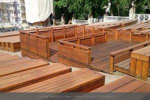 Реставрация деревянных скамей Зеленого театра ВДНХ